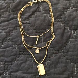 Banana Republic triple chain fashion necklace gold